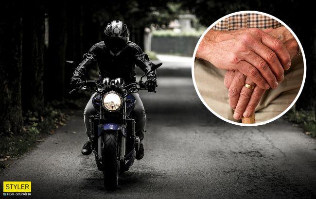 У Києві дідусь пакетом збив мотоцикліста-хама: водій жорстоко помстився