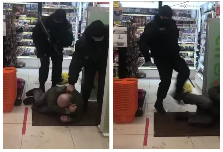 Охоронці магазину побили безхатька, який зайшов погрітися (ВІДЕО)