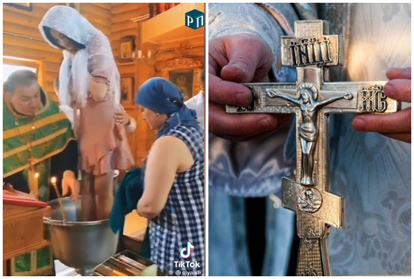 Священник РПЦ кумедно охрестив в чаші дорослу дівчину